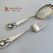 Berry Spoon Serving Fork Napoleon Shiebler Enamel 1894 No Monograms