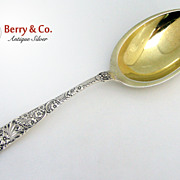 Floral Scroll Large Berry Spoon Frank Smith 1890 Sterling Silver Monogram HCB