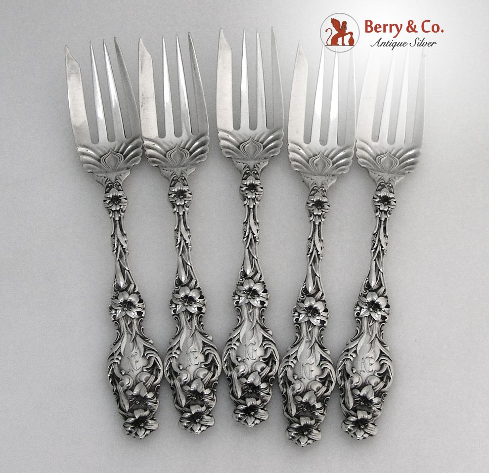 Salad Forks 5 Lily Whiting Patent 1902 Sterling Silver Monogram N