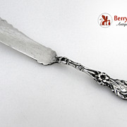 Master Butter Knife Lily Whiting Patent 1902 Sterling Silver Monogram E