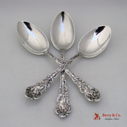 Versailles Dessert Spoons 3 Gorham Copyrighted 1888 Sterling Silver