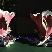 Pair of French Porcelain Flared, Flattened Floral Vases in Rose and Cobalt Blue