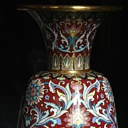 Empress Art Deco Motifs on Elegant Domestic Chinese Cloisonne Vase
