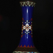 Meiji Period Japanese Cloisonne Vase Crafted in Experimental Transitional Enameling