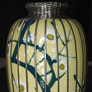 Striking Meiji Period Porcelain Studio Art Vase with Overlay Silver Basket Weave