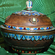 Tour de Force Large Antique Tibetan Covered Bowl
