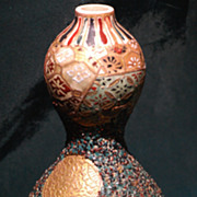 Fine Japanese Double Gourd Bottle in Brocade Style