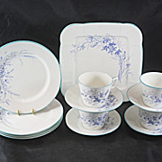13 Piece English China TEA SET Made Late 1800'S Blue Flowers