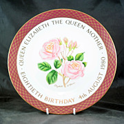 Royal Worcester LE Plate 80th Birthday of Queen Mother No. 136/500