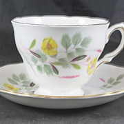Fine Bone China Cup & Saucer featuring Yellow Flowers by Royal Vale