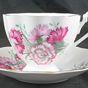 Queen Anne Cup and Saucer featuring Carnations