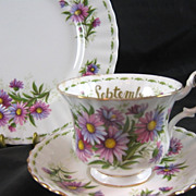 Royal Albert Trio Flower of the Month September Michaelmas Daisy