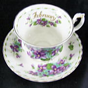 Royal Albert Cup & Saucer Flower of the Month February Violets