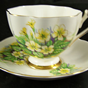 Doric Fine Bone China Cup & Saucer Yellow Flowers
