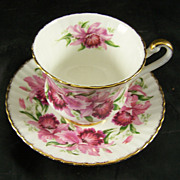 Paragon Fine Bone China Cup & Saucer  Red Flowers