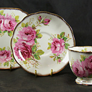 Trio from Royal Albert in the AMERICAN BEAUTY Pattern with Square Tea Plate