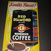 Handpainted prototype sign Red Diamond Coffee