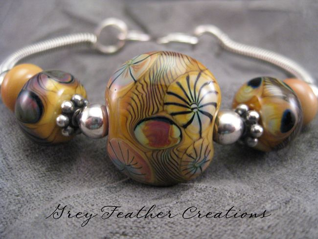 Sterling Silver Artisan Lampwork Bangle Bracelet Natural Colors