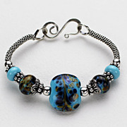 Sterling Silver Artisan Lampwork Bangle Bracelet