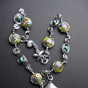 'Siren's Song' Artisan Lampwork Necklace in Sterling Silver