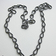 SOLD Sterling Silver Coil Link Necklace with Hill Tribe Pendant