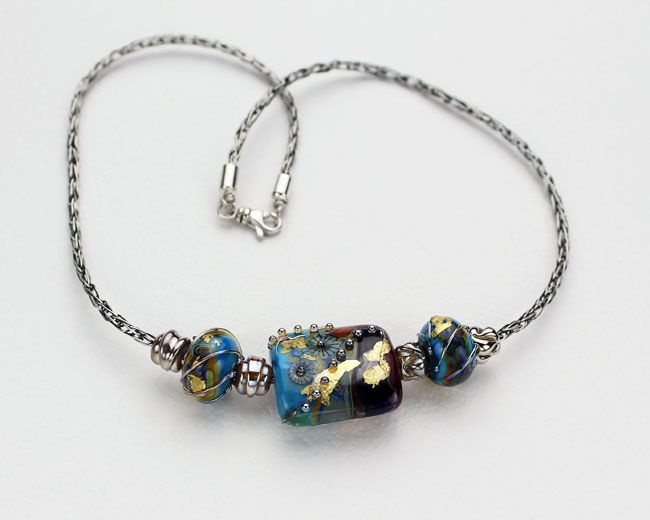 Sterling Silver Viking Knit Artisan Lampwork Necklace