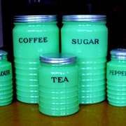 SOLD Vintage Jeannette Dark Jadite Complete Canister & Shaker Set All Original - 7 Pieces