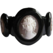 Victorian Whitby Jet Carved Cameo Bracelet, Outstanding!