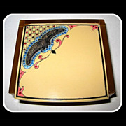 Vintage 20's Art Deco Celluloid Jewelry Box, Paste Stones