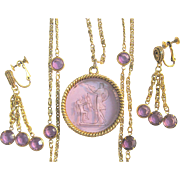 Vintage Cupid Goldette Intaglio Necklace & Drop Crystal Earrings