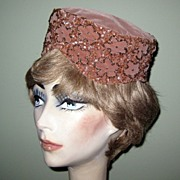 Vintage 50's Velvet Pill Box Hat, Beaded & Sequins!!