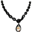 Whitby Jet Cameo Necklace,  Outstanding Victorian Mourning Jewelry