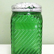 Vintage Owens Glass Shaker, Green Depression, Deco Illinois