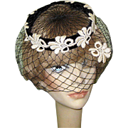 Vintage 40's 50's Black Velvet Hat, Netting & Lace!