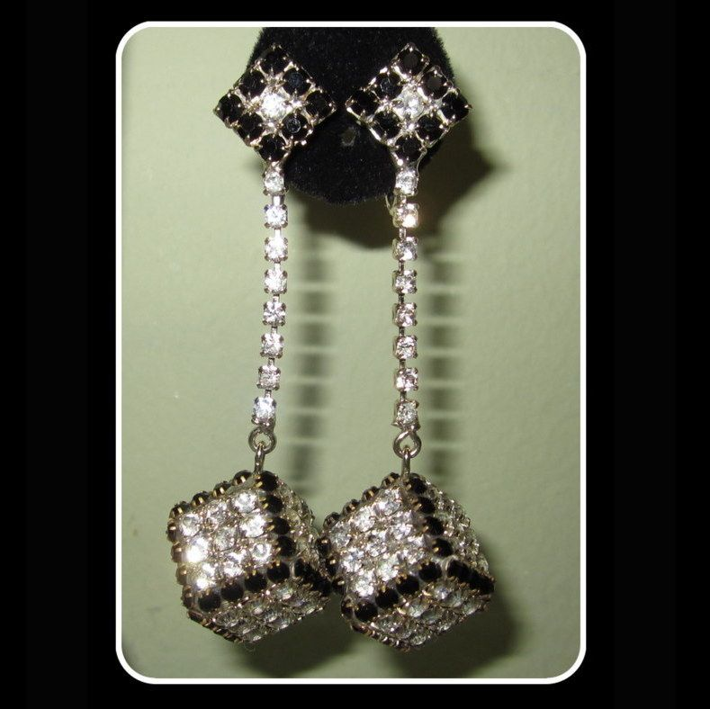 Vintage Rhinestone Earrings, Drop Cubes, So 60's!