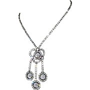 Crystal Festoon Necklace Gunmetal & Rhinestone Victorian Revival, 40's