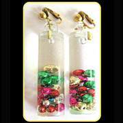 60's Lucite Drop Earrings, Floating Shiny Beads! Holiday Earrings!