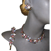 D & E Juliana Parure - Necklace, Bracelet, Earrings Givre Rhinestones