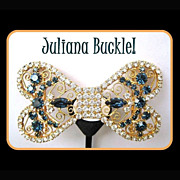 Vintage D & E Juliana Belt Buckle - Rhinestone Dog Bone Beauty!