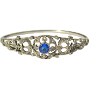 Vintage Art Deco Sterling Bangle Bracelet - Sapphire Paste - Brilliant