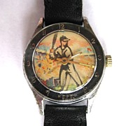 Vintage Swiss Character Watch, Baseball Flicker Dial