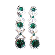 Vintage Kramer Rhinestone Drop Earrings, Emerald Green
