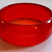 Vintage Deco Cherry Juice Bakelite Bracelet, Prystal Bangle, Wide!!