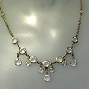 SALE Vintage 80's Crystal Necklace, Bezel Set, Equal Sided, Drops!