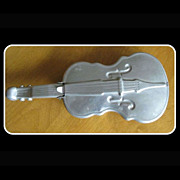 Vintage Aluminum Violin Dish, Flip Lid, Fiddle Collectible
