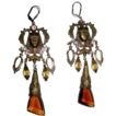80's King Tut Earrings, Egyptian Revival, Rhinestone Drop, Pididdly