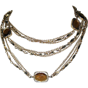 Crystal Necklace, Golden Embers, Bezel Set Sautoir, Sarah Coventry