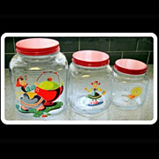 3 Anchor Hocking Glass Canister Set, 40's Deco Kitchen