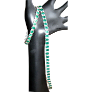 Sterling & Malachite Necklace & Bracelet - Simple & Sublime In Line Link