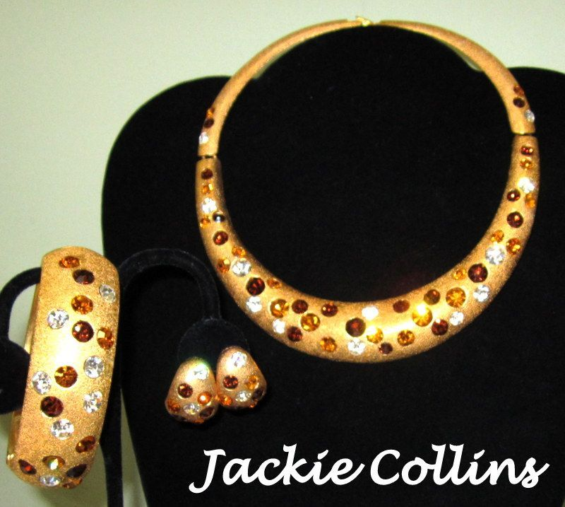 Jackie Collins Necklace, Bracelet & Earrings, Swarovski Crystal 80's